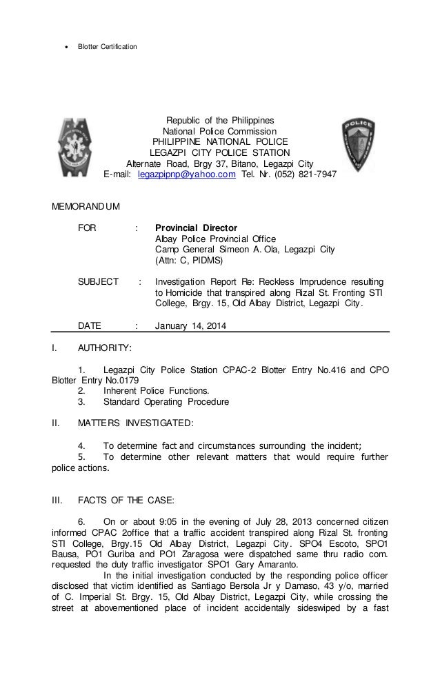 Investigation report – Sample of a Police Report
