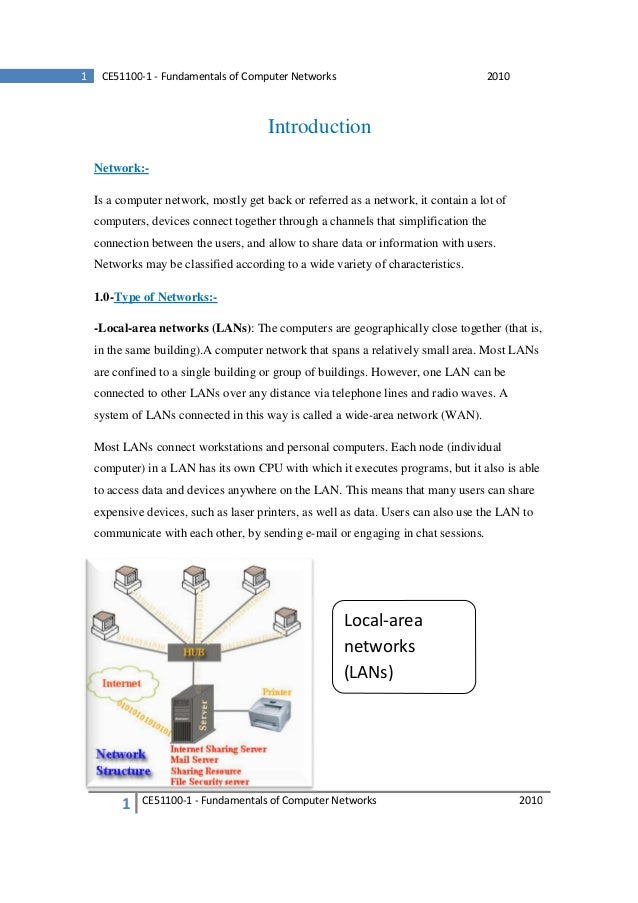 1  CE51100-1 - Fundamentals of Computer Networks  2010  Introduction Network:Is a computer network, mostly get back or ref...