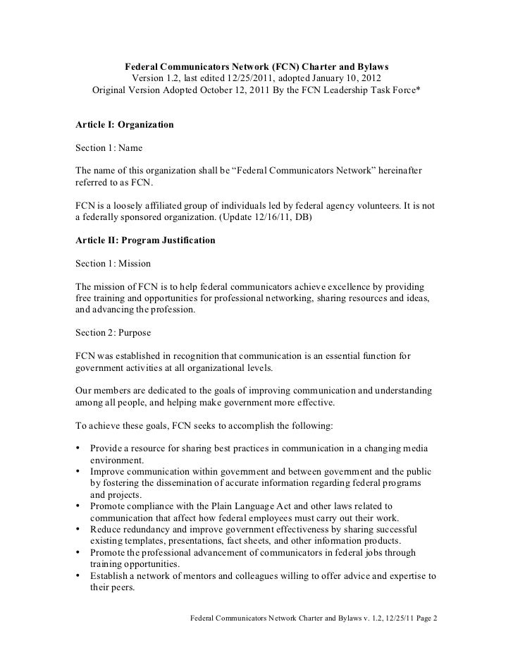 Federal Communicators Network (FCN) Charter and Bylaws                Version 1.2, last edited 12/25/2011, adopted January...