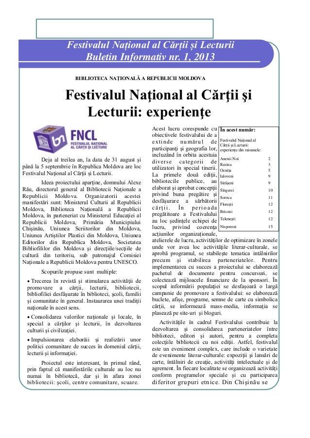 Festivalul Național al Cărții și Lecturii Buletin Informativ nr. 1, 2013 BIBLIOTECA NAȚIONALĂ A REPUBLICII MOLDOVA  Festiv...