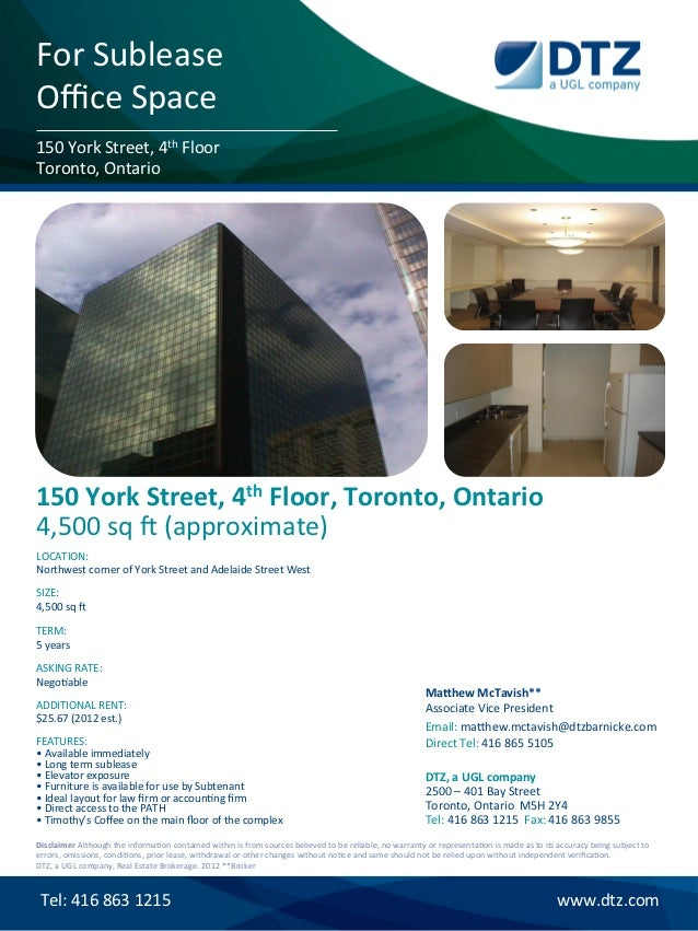 For	  Sublease	  Office	  Space	  150	  York	  Street,	  4th	  Floor	  Toronto,	  Ontario	  150	  York	  Street,	  4th	  Flo...