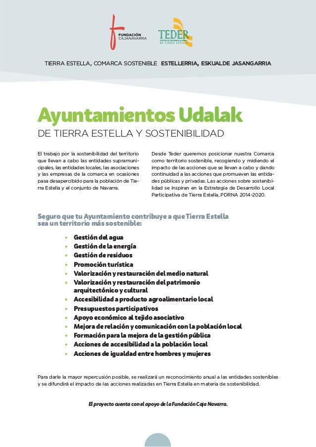 AyuntamientosUdalak Seguro que tuAyuntamiento contribuye a queTierra Estella sea un territorio más sostenible: • Gestión d...