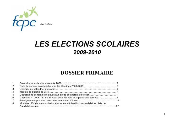 Des Yvelines                     LES ELECTIONS SCOLAIRES                                                 2009-2010        ...