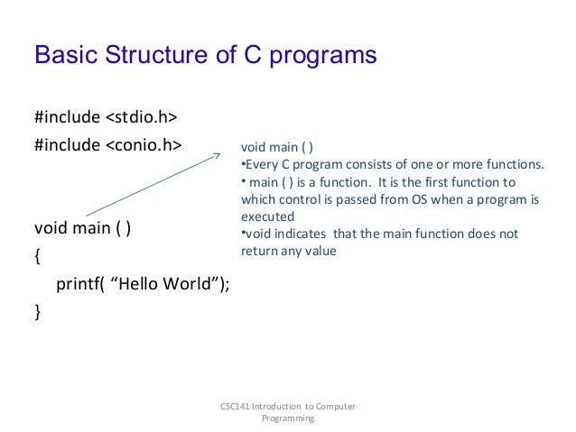 how to write a simple program in c language
