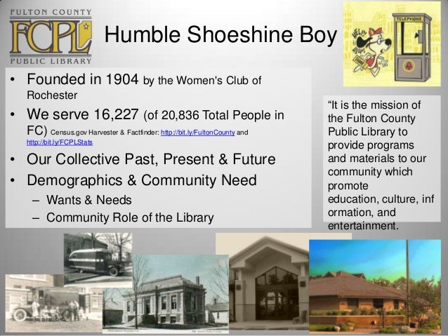 Humble Shoeshine Boy • Founded in 1904 by the Women's Club of Rochester  • We serve 16,227 (of 20,836 Total People in FC) ...