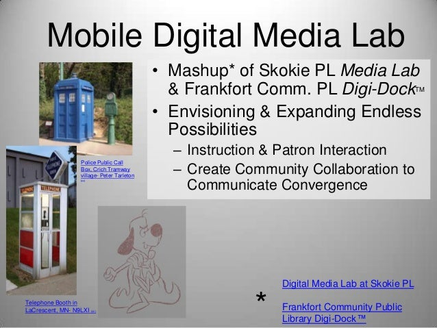 Mobile Digital Media Lab • Mashup* of Skokie PL Media Lab & Frankfort Comm. PL Digi-Dock • Envisioning & Expanding Endless...