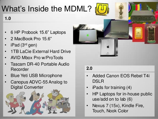 "What's Inside the MDML? 1.0 • • • • • •  6 HP Probook 15.6"" Laptops 2 MacBook Pro 15.6"" iPad (3rd gen) 1TB LaCie External ..."