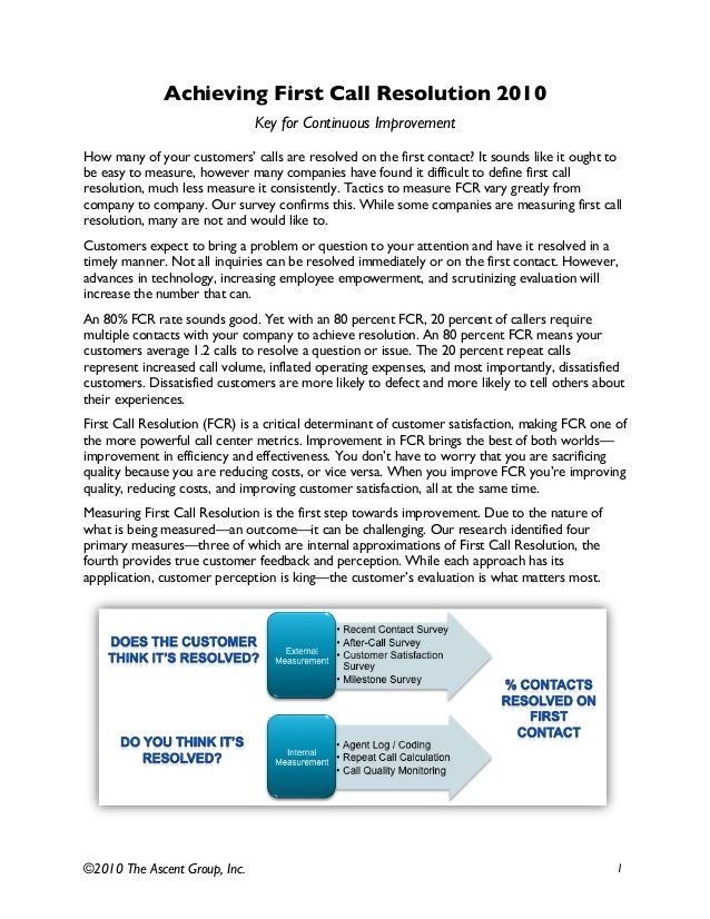 ©2010 The Ascent Group, Inc. 1 Achieving First Call Resolution 2010 Key for Continuous Improvement How many of your custom...