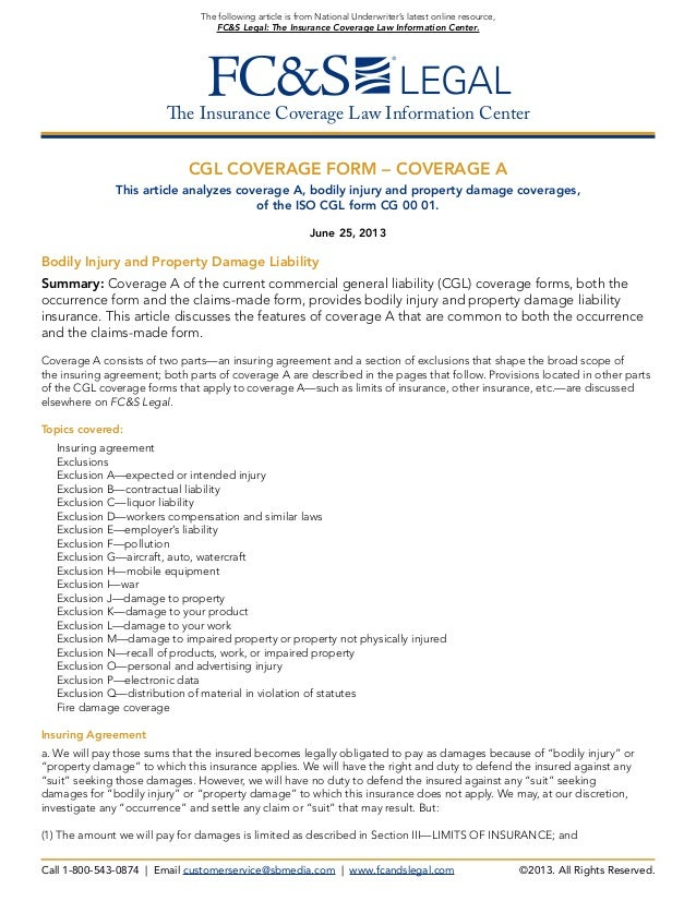 CGL Coverage Form -- Coverage A (from FC&S Legal: The Insurance Cover…
