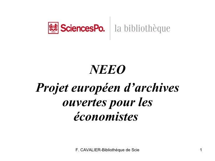 NEEO Projet européen d'archives ouvertes pour les économistes