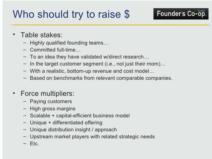Who should try to raise $ <ul><li>Table stakes: </li></ul><ul><ul><li>Highly qualified founding teams… </li></ul></ul><ul>...