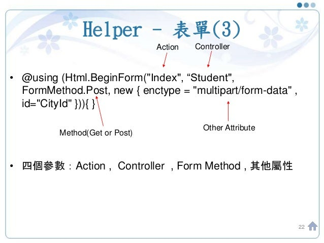 "Helper - 表單(3) • @using (Html.BeginForm(""Index"", ""Student"", FormMethod.Post, new { enctype = ""multipart/form-data"" , id=""C..."