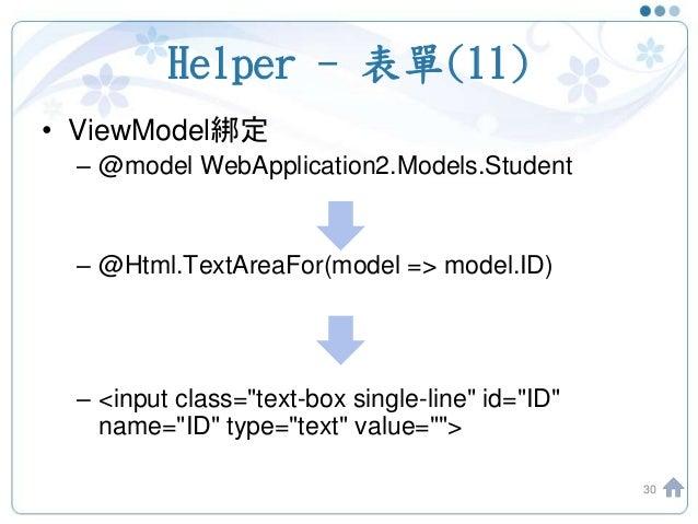Helper - 表單(11) • ViewModel綁定 – @model WebApplication2.Models.Student – @Html.TextAreaFor(model => model.ID) – <input clas...