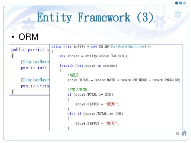 Entity Framework (3) • ORM 59