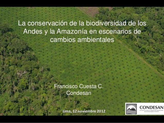 La conservación de la biodiversidad de los Andes y la Amazonía en escenarios de          cambios ambientales           Fra...