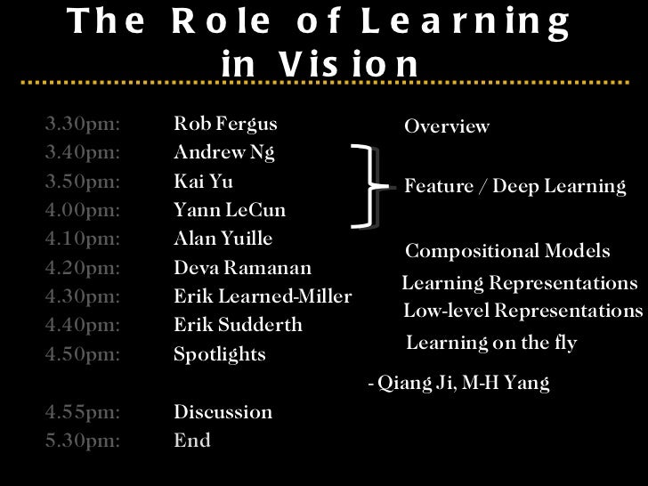 The Role of Learning in Vision 3.30pm: Rob Fergus 3.40pm: Andrew Ng 3.50pm: Kai Yu 4.00pm: Yann LeCun 4.10pm: Alan Yuille ...