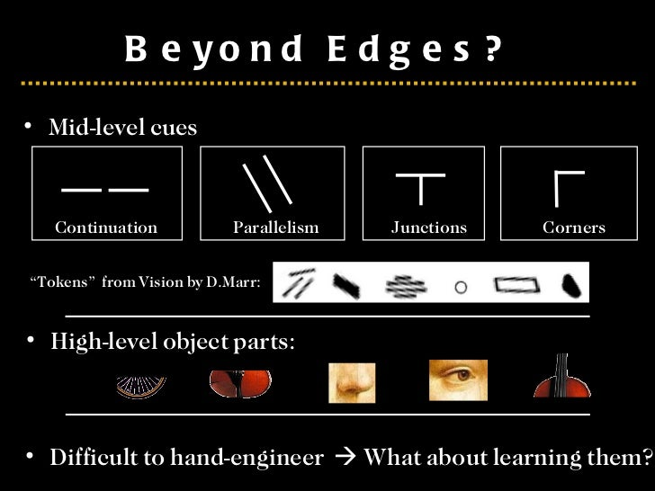 """Beyond Edges?  <ul><li>Mid-level cues </li></ul>"""" Tokens""""  from Vision by D.Marr: Continuation Parallelism Junctions Corne..."""