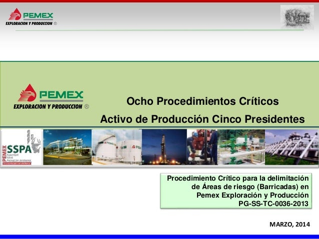 MARZO, 2014 Ocho Procedimientos Críticos Activo de Producción Cinco Presidentes Procedimiento Crítico para la delimitación...