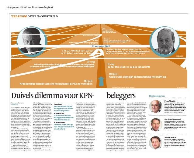 22 augustus 2013 © Het Financieele Dagblad DuivelsdilemmavoorKPN- b- beleggers Telecom Overnamestrijd Van onze redacteuren...