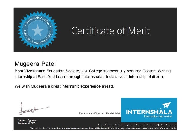 Mugeera Patel from Vivekanand Education Society,Law College successfully secured Content Writing internship at Earn And Le...