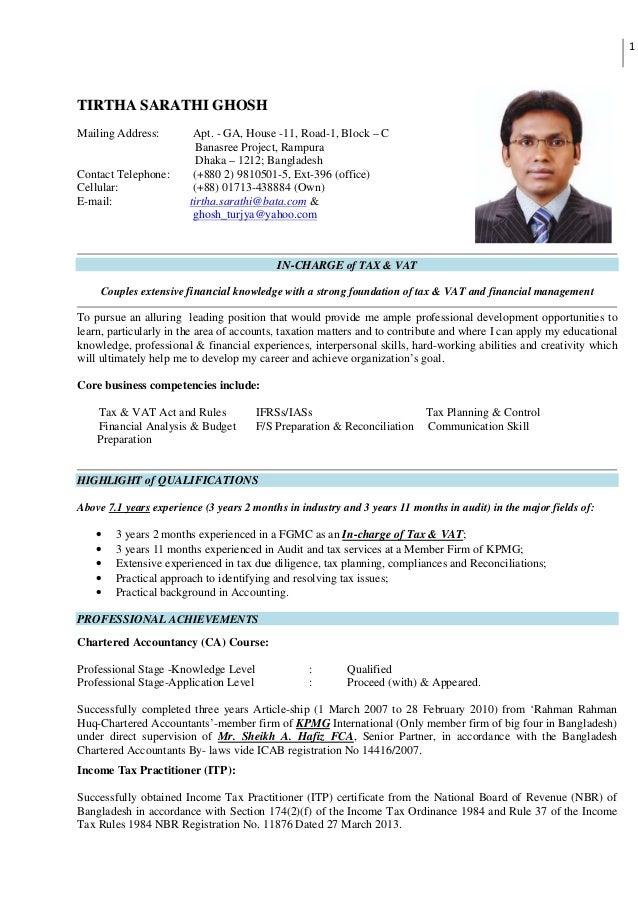 Resume of Tirtha Sarathi Ghosh