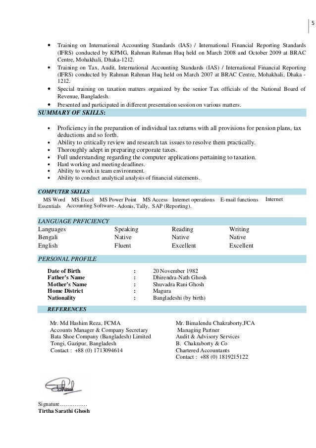Resume of Tirtha Sarathi Ghosh