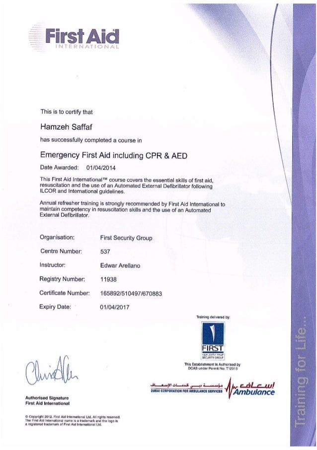 Certified First Aider Certificate