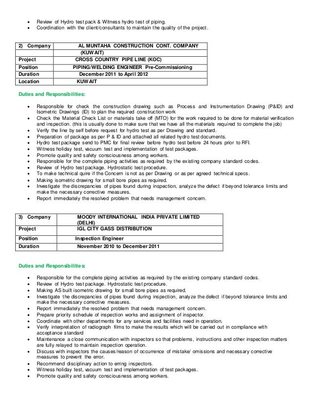 2 review of hydro test - Hydro Test Engineer Sample Resume