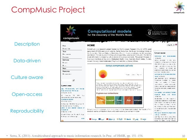 5[Y a_UO B [V O • Serra, X. (2011). A multicultural approach to music information research. In Proc. of ISMIR, pp. 151–156...