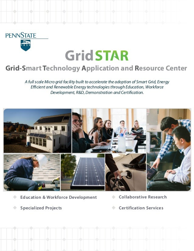 Grid-Smart Technology Application and Resource Center A full scale Micro grid facility built to accelerate the adoption of...