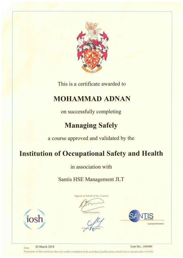 HSE certificate