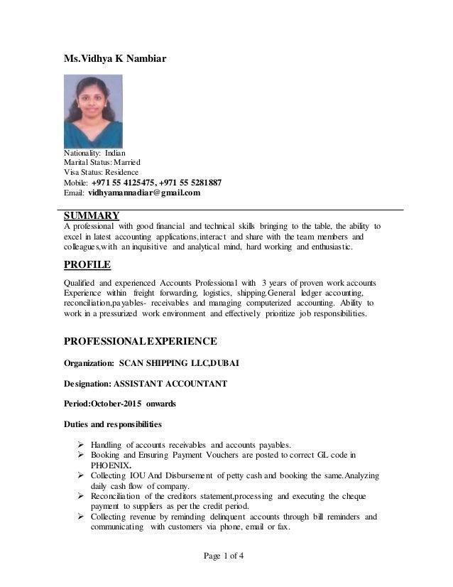 Page 1 of 4 Ms.Vidhya K Nambiar Nationality: Indian Marital Status: Married Visa Status: Residence Mobile: +971 55 4125475...