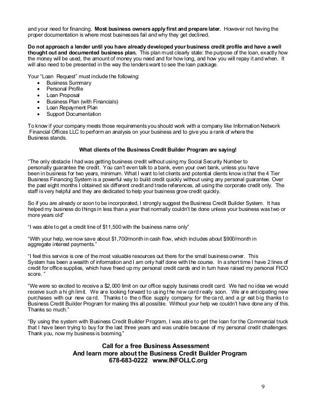 BUSINESS CREDIT BUILDER PROGRAM V-1