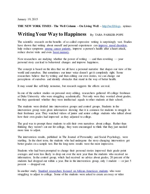 writing your way to happiness article nytimes  19 2015 the new york times the well column on living well