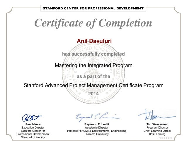 Stanford Adv Project Mgmt Certificate Program