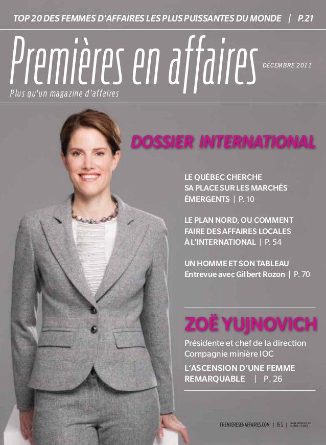 PREMIEREsENAFFAIRES.COM | 15$ | convention postes canada: 41502021 Premièresenaffaires::DÉCEMBRE2011::dossierinternation...