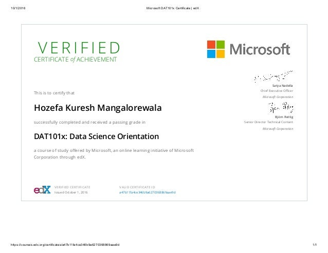 microsoft dat101x certificate edx