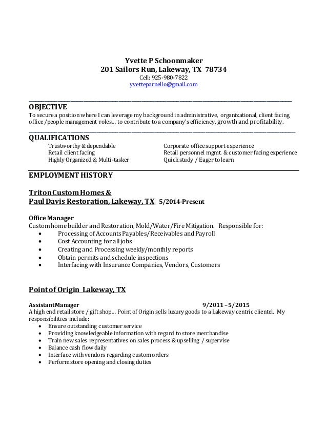 Resume for custom home builder