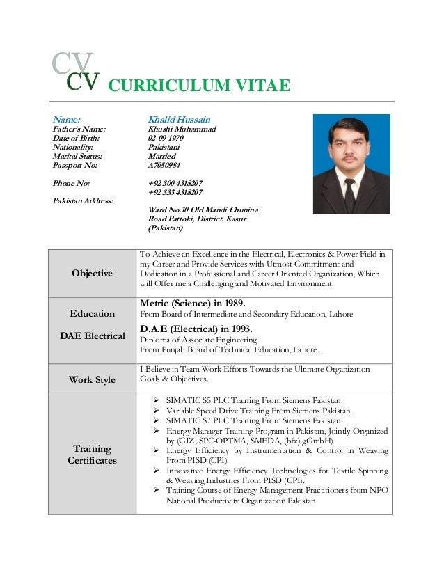 cv of khalid hussain