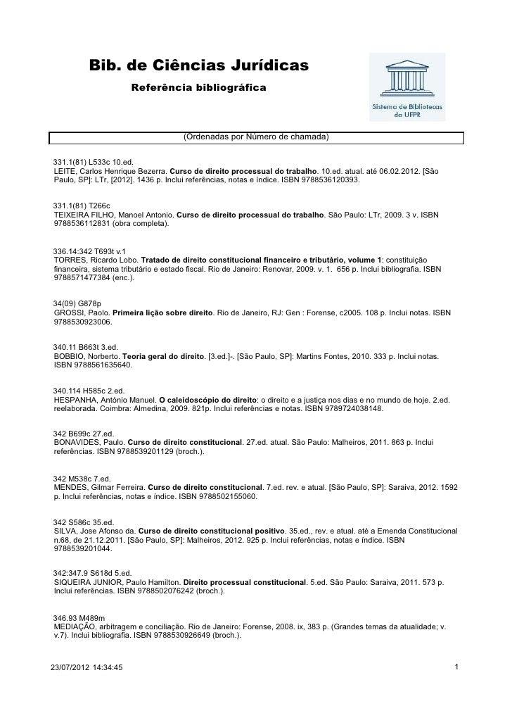 Bib. de Ciências Jurídicas                       Referência bibliográfica                                       (Ordenadas...