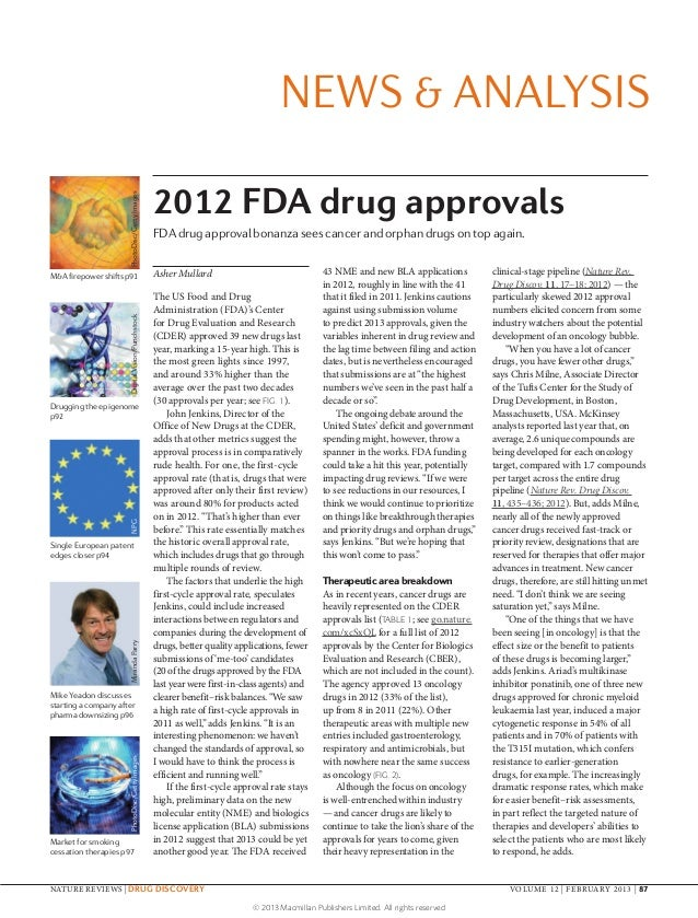 NEWS & ANALYSIS                                                  2012 FDA drug approvals                      PhotoDisc/Ge...