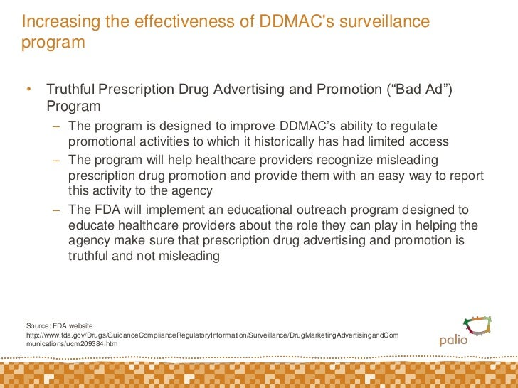 """Increasing the effectiveness of DDMAC's surveillance program<br />Truthful Prescription Drug Advertising and Promotion (""""B..."""