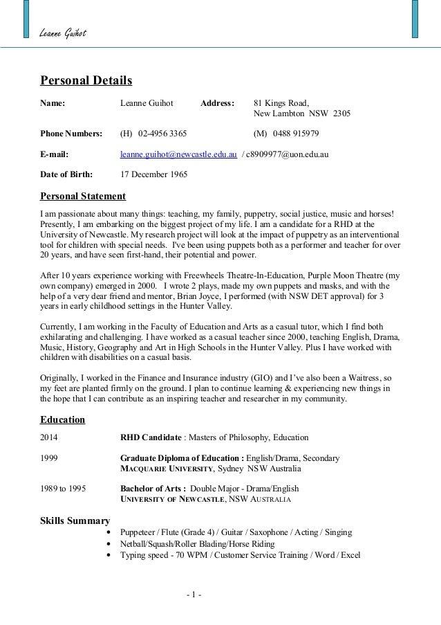 Secondary Teacher Resume Australia Professional User Manual Ebooks