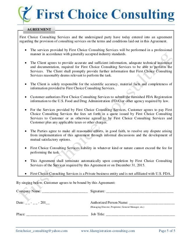 Consulting Service Agreement  Resume Template Sample