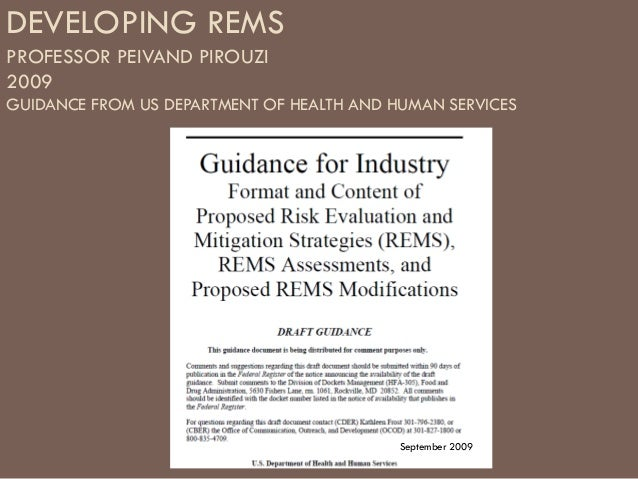 DEVELOPING REMSPROFESSOR PEIVAND PIROUZI2009GUIDANCE FROM US DEPARTMENT OF HEALTH AND HUMAN SERVICES                      ...