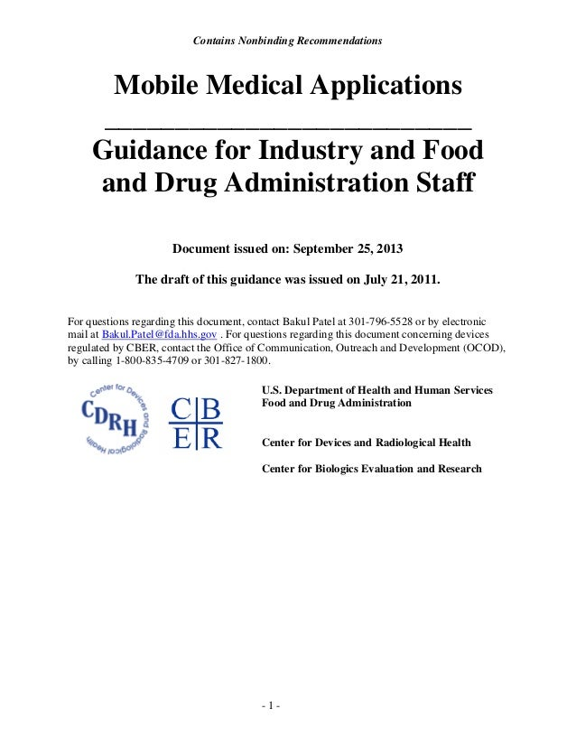 Contains Nonbinding Recommendations  Mobile Medical Applications __________________________ Guidance for Industry and Food...