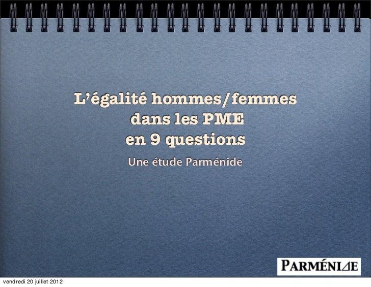 L'égalité hommes/femmes                                  dans les PME                                 en 9 questions      ...