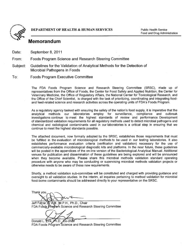 DEPARTMENT OF HEALTH & HUMAN SERVICES Public Health Service Food and Drug Administration Memorandum Date:  September 8, 2...
