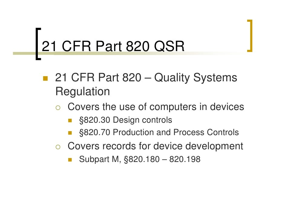 21 cfr part 820 pdf fdating