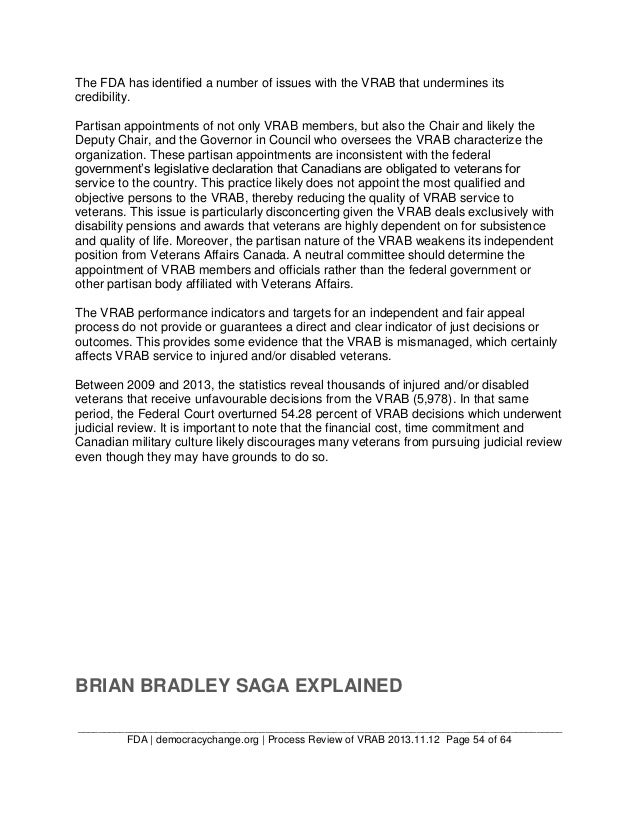 FDA's Brian Bradley Case Study and Process Review of the Veterans Rev…